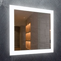 Frameless mirror with lights