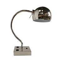Polished chrome table lamp with 2 outlets