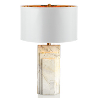 Drum shade marble table lamp