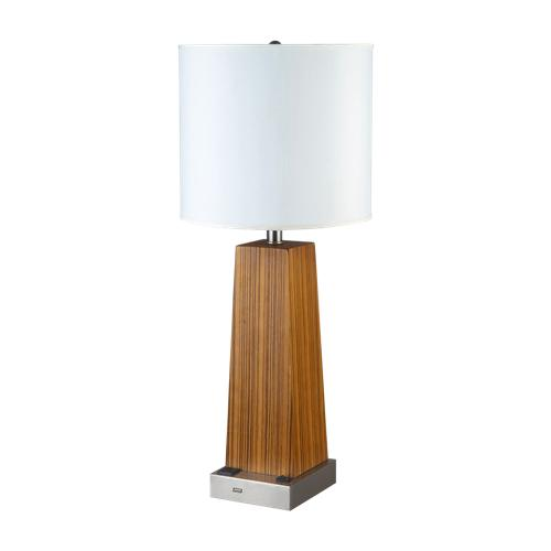 Wood table lamp with outlet and USB