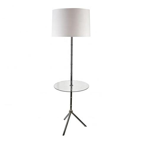 Floor lamp with glass shelf