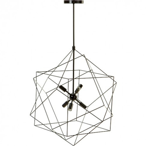 Black geometric pendant light