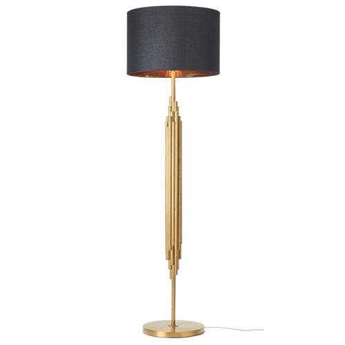Gold and black floor lamp