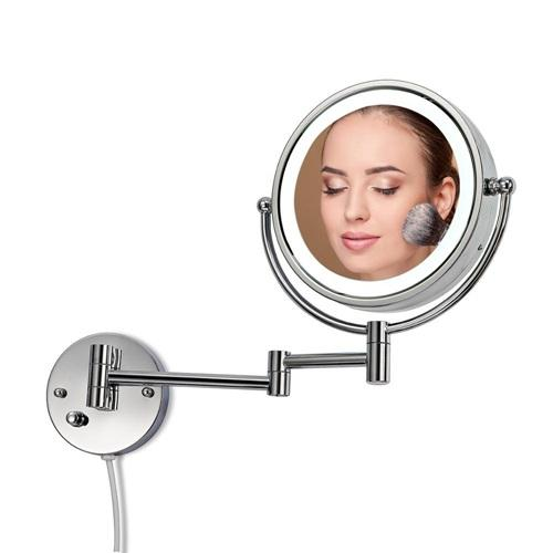 Wall mounted lighted makeup mirror